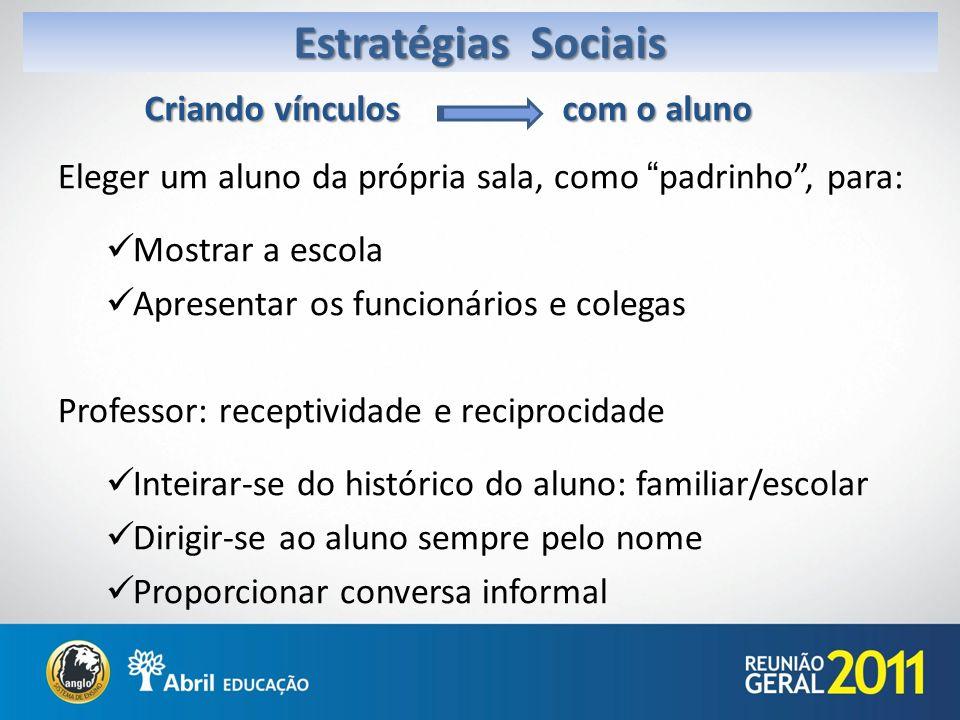 Estratégias Sociais Criando vínculos com o aluno