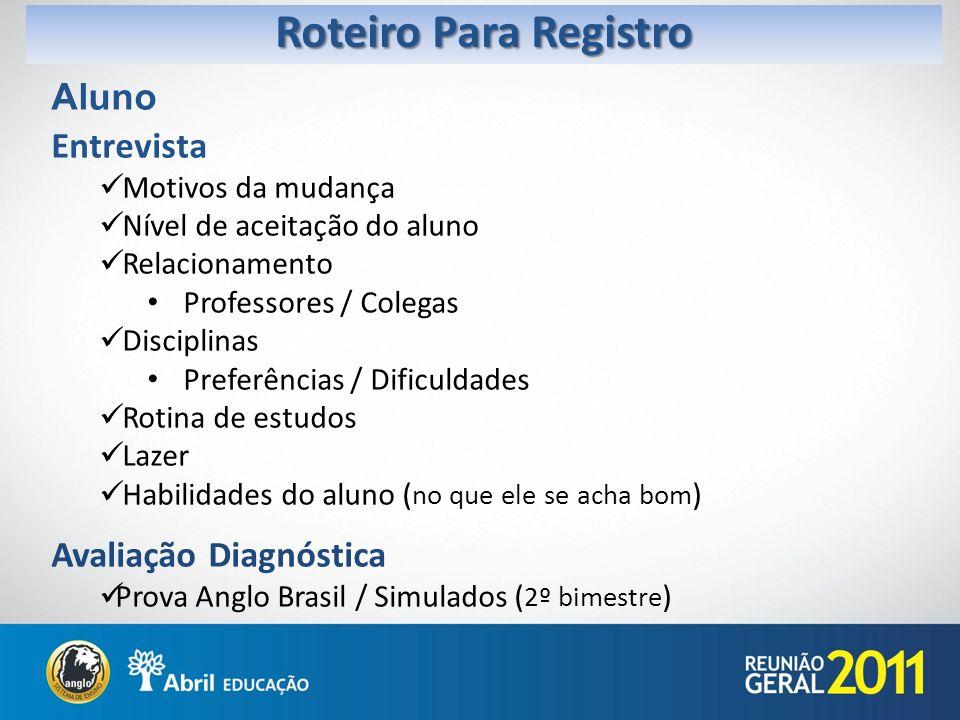 Roteiro Para Registro Aluno Entrevista Avaliação Diagnóstica