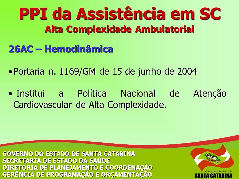 PPI da Assistência em SC Alta Complexidade Ambulatorial