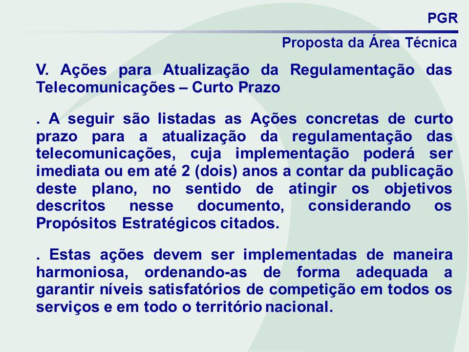 PGR Proposta da Área Técnica. V. Ações para Atualização da Regulamentação das Telecomunicações – Curto Prazo.