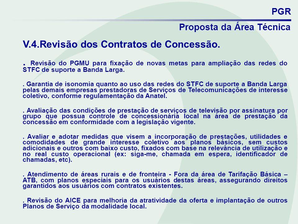 V.4.Revisão dos Contratos de Concessão.