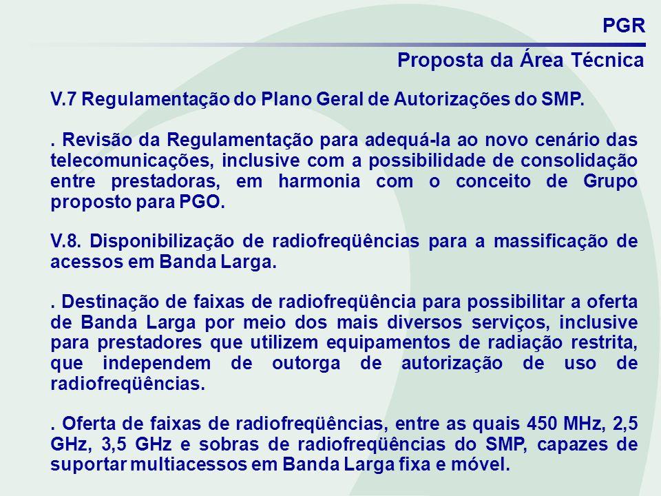 V.7 Regulamentação do Plano Geral de Autorizações do SMP.