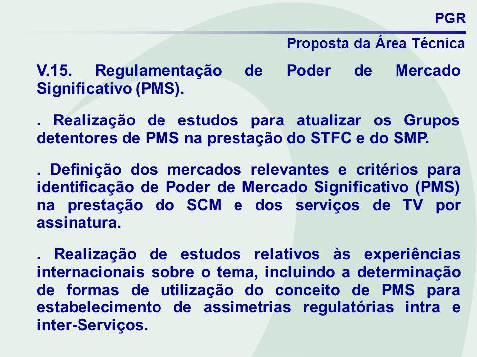 V.15. Regulamentação de Poder de Mercado Significativo (PMS).