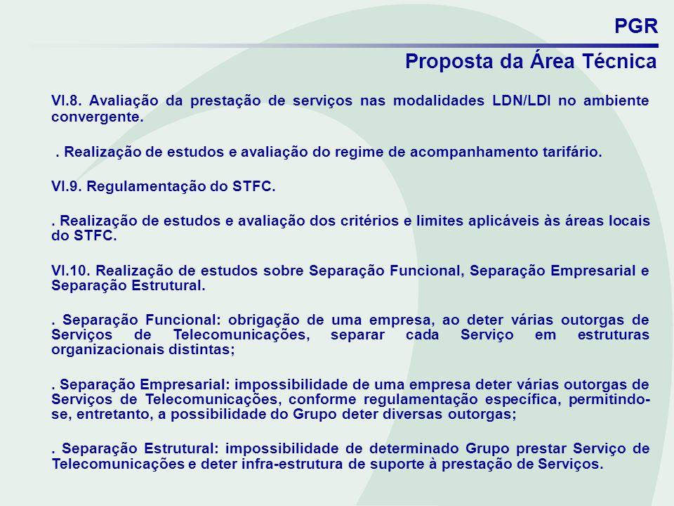 PGR Proposta da Área Técnica. VI.8. Avaliação da prestação de serviços nas modalidades LDN/LDI no ambiente convergente.