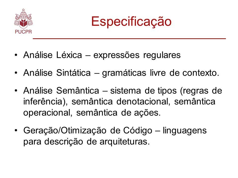 Especificação Análise Léxica – expressões regulares