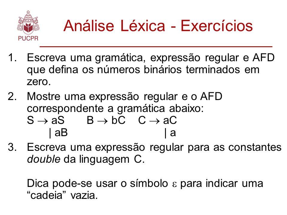 Análise Léxica - Exercícios