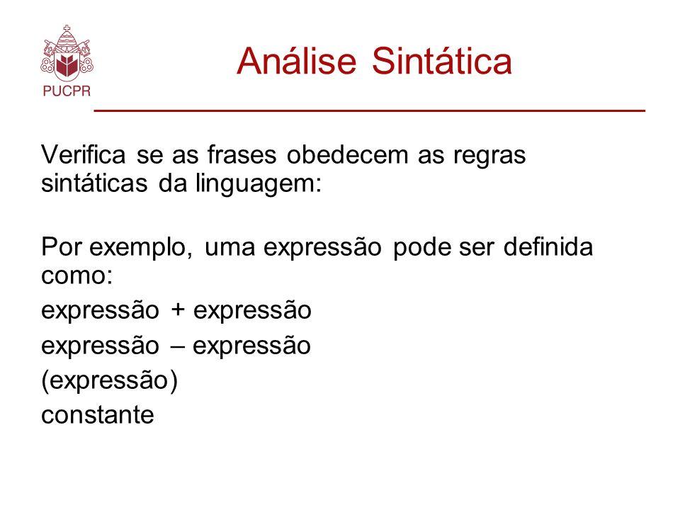Análise Sintática Verifica se as frases obedecem as regras sintáticas da linguagem: Por exemplo, uma expressão pode ser definida como: