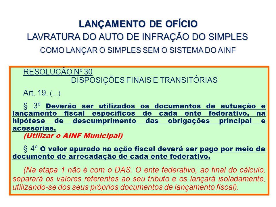 LANÇAMENTO DE OFÍCIO LAVRATURA DO AUTO DE INFRAÇÃO DO SIMPLES