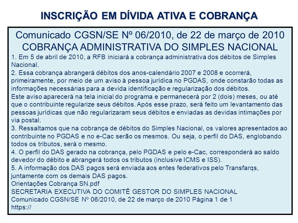 INSCRIÇÃO EM DÍVIDA ATIVA E COBRANÇA
