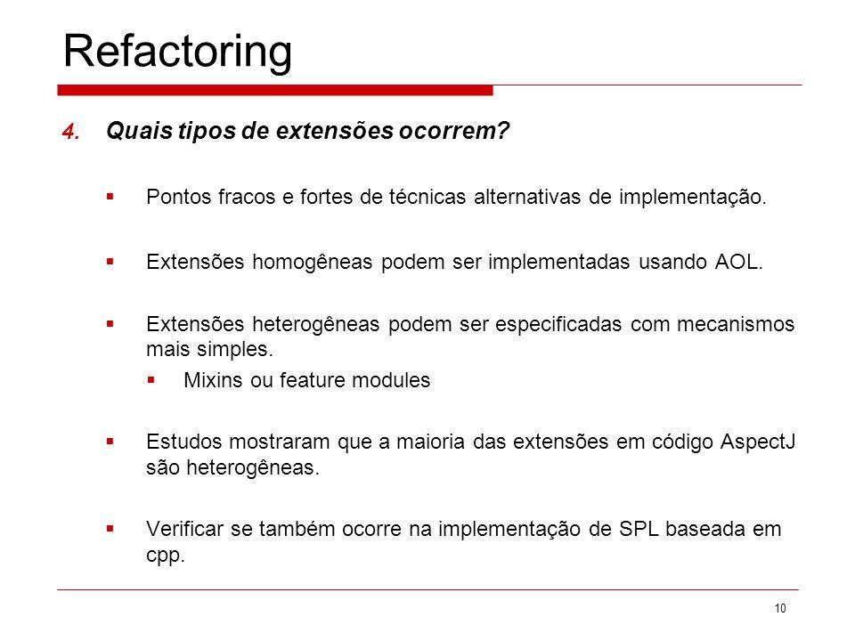 Refactoring Quais tipos de extensões ocorrem