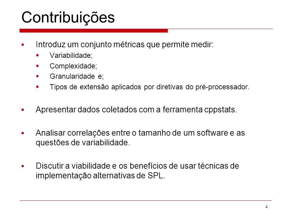 Contribuições Introduz um conjunto métricas que permite medir: