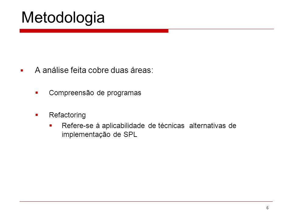 Metodologia A análise feita cobre duas áreas: Compreensão de programas