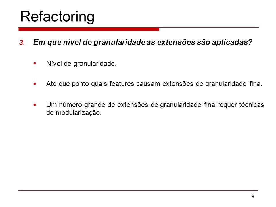 Refactoring Em que nível de granularidade as extensões são aplicadas