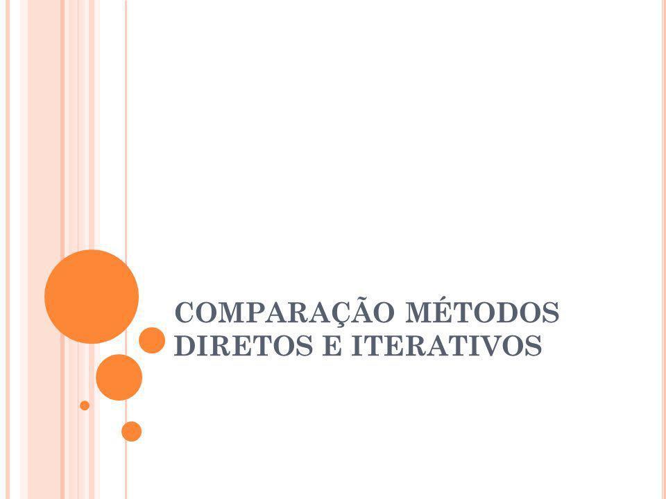 COMPARAÇÃO MÉTODOS DIRETOS E ITERATIVOS