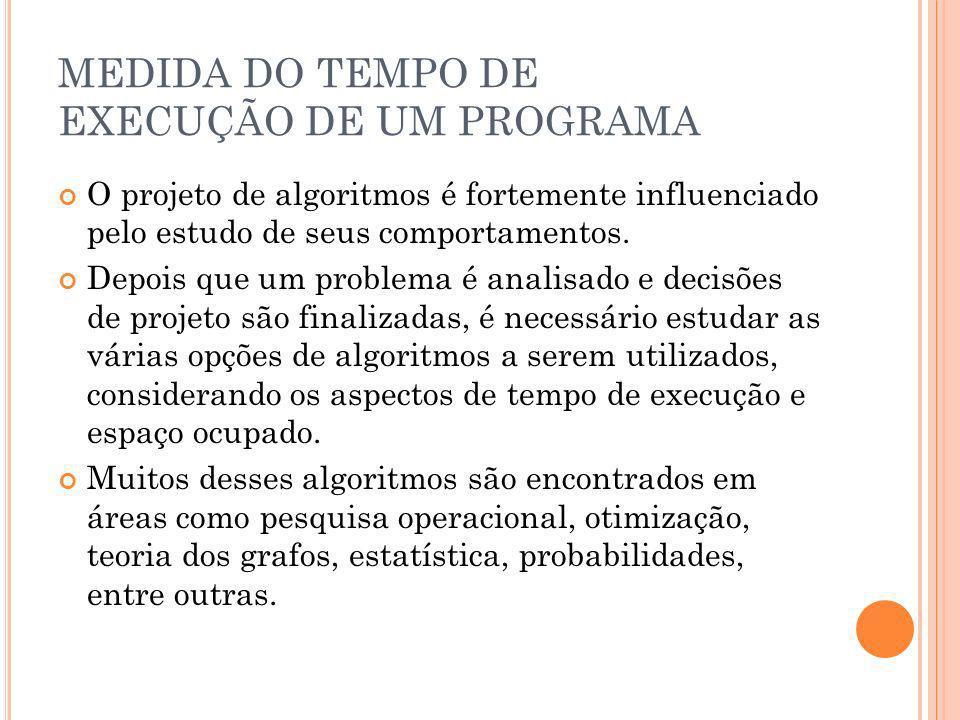 MEDIDA DO TEMPO DE EXECUÇÃO DE UM PROGRAMA