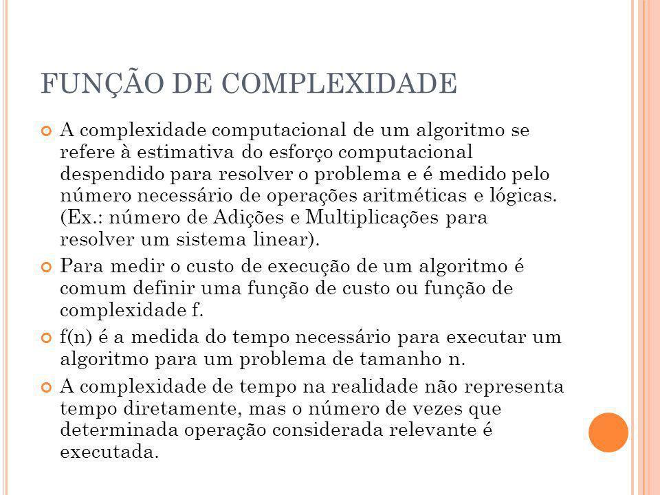 FUNÇÃO DE COMPLEXIDADE