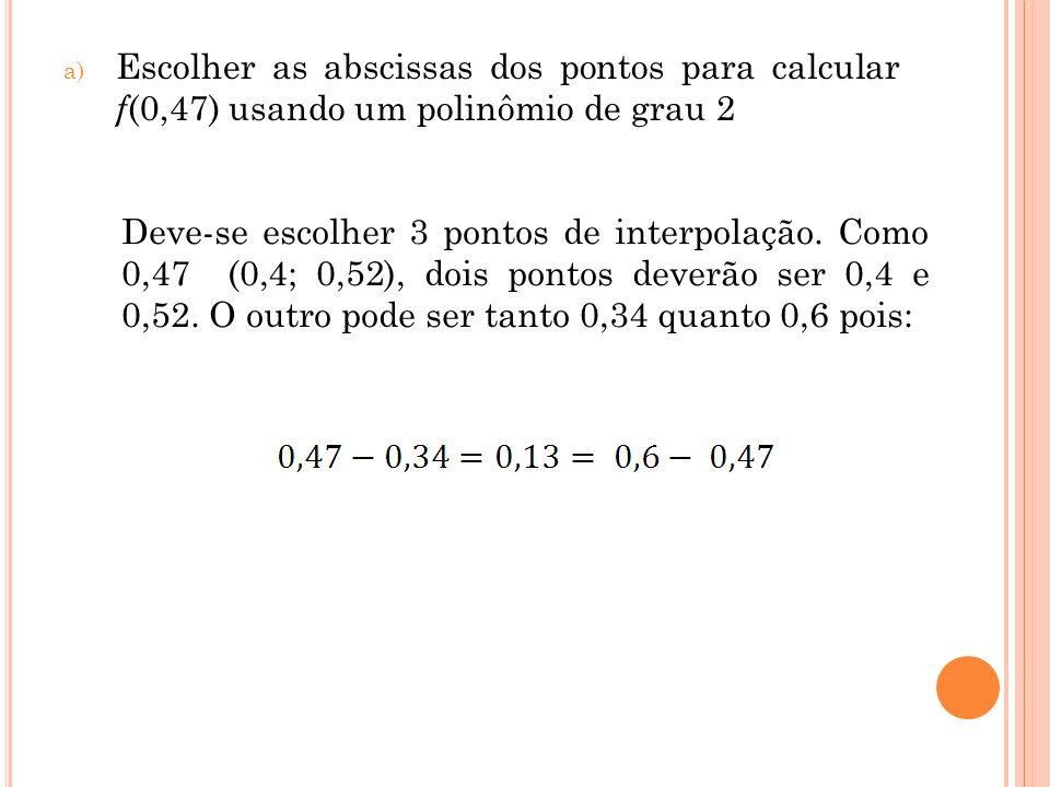 Escolher as abscissas dos pontos para calcular f(0,47) usando um polinômio de grau 2