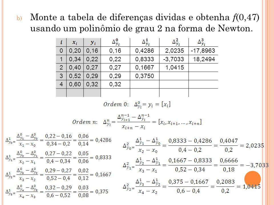 Monte a tabela de diferenças dividas e obtenha f(0,47) usando um polinômio de grau 2 na forma de Newton.