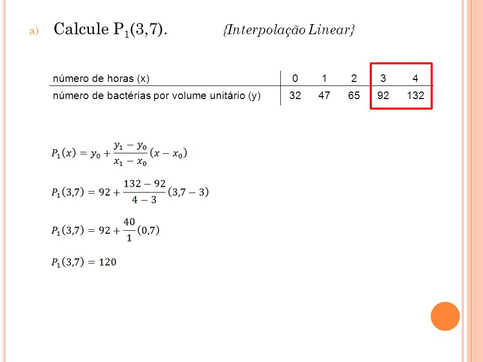 Calcule P1(3,7). {Interpolação Linear}