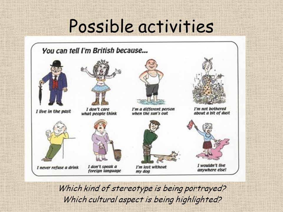 Possible activities Which kind of stereotype is being portrayed