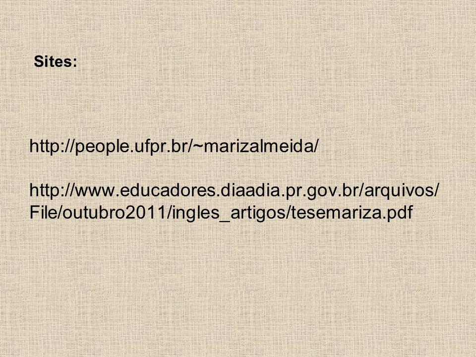 Sites: http://people. ufpr. br/~marizalmeida/ http://www. educadores