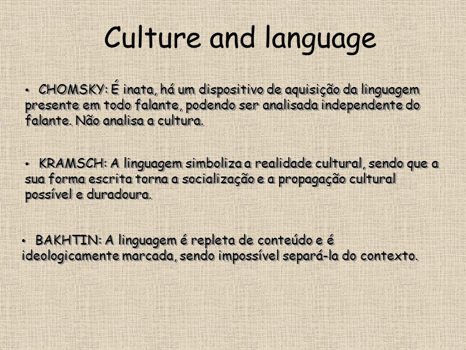 Culture and language