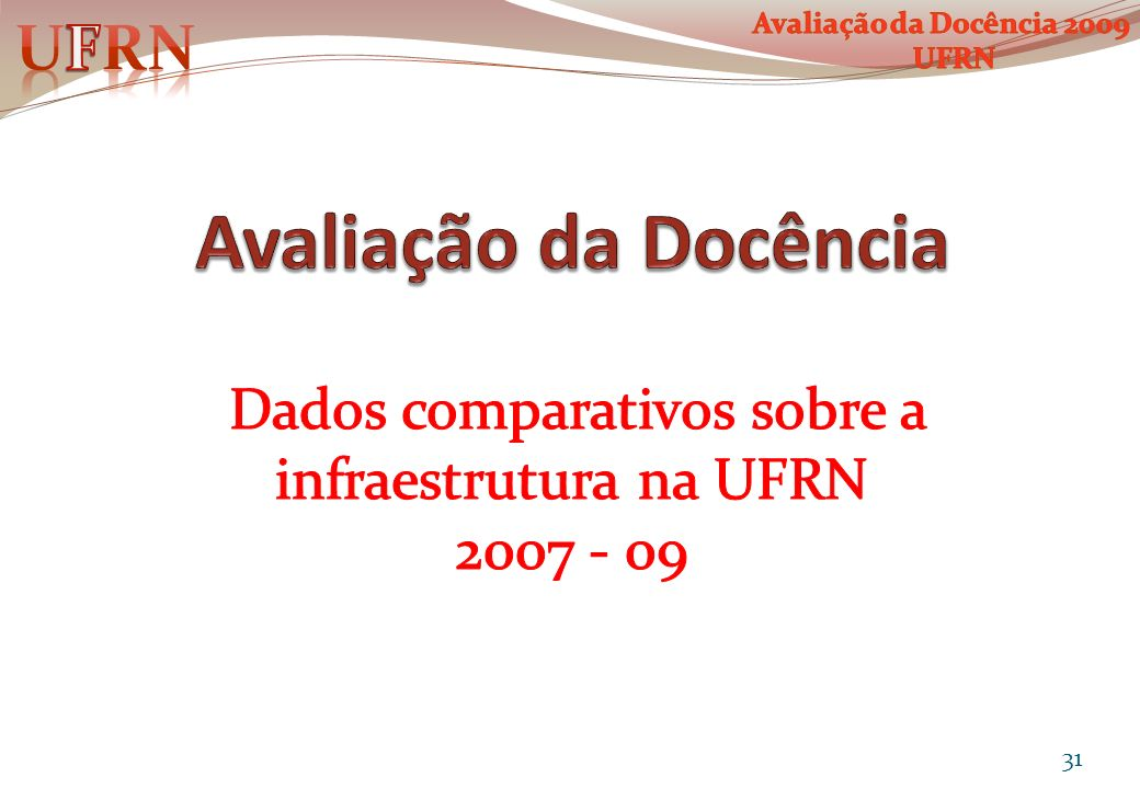 Dados comparativos sobre a infraestrutura na UFRN 2007 - 09