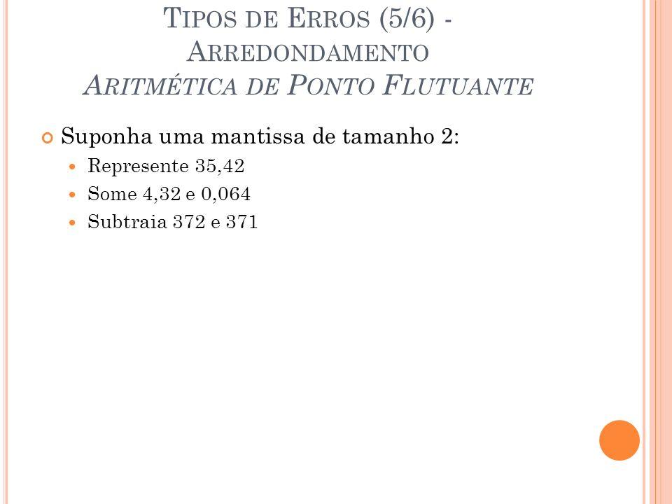 Tipos de Erros (5/6) - Arredondamento Aritmética de Ponto Flutuante