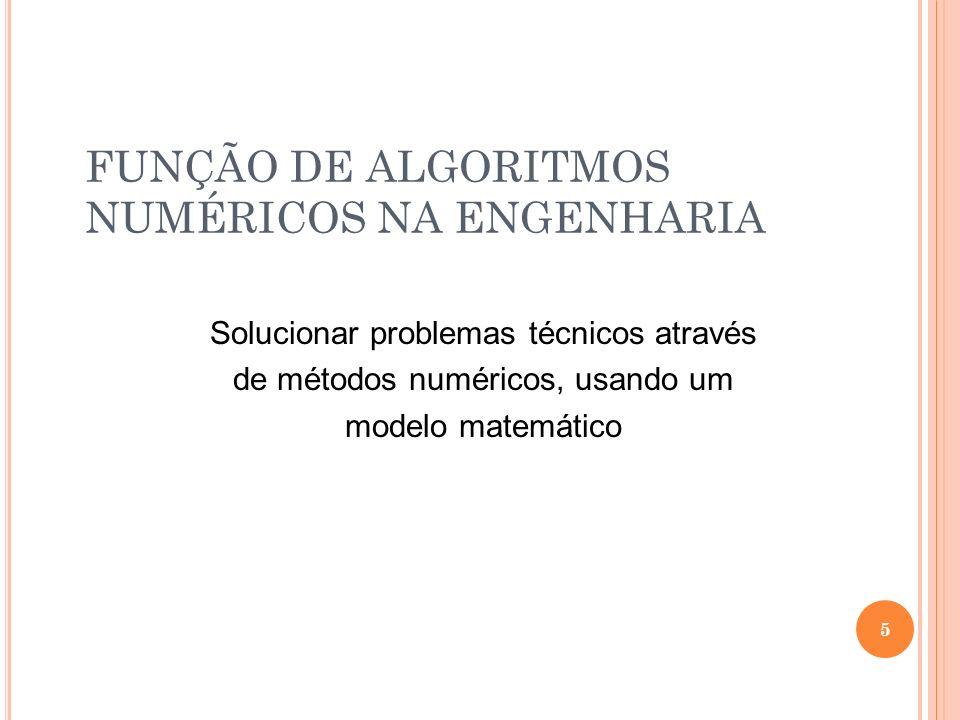 FUNÇÃO DE ALGORITMOS NUMÉRICOS NA ENGENHARIA
