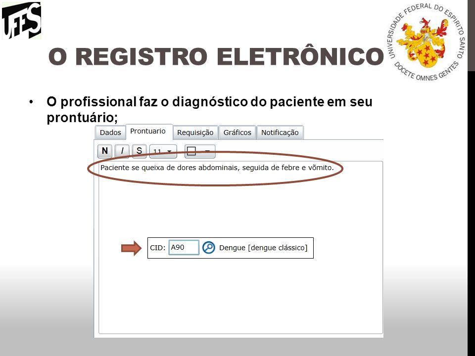 O REGISTRO ELETRÔNICO O profissional faz o diagnóstico do paciente em seu prontuário;