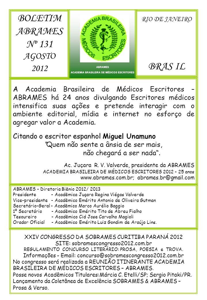 BOLETIM ABRAMES Nº 131 BRAS IL AGOSTO 2012 RIO DE JANEIRO