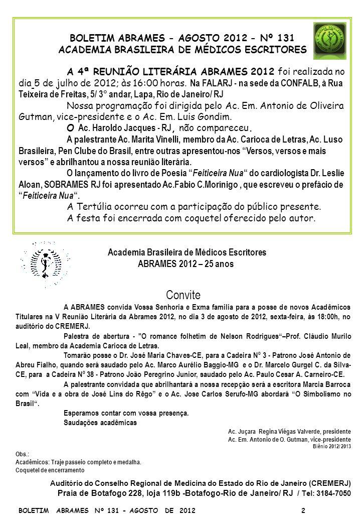 Convite BOLETIM ABRAMES - AGOSTO 2012 - Nº 131