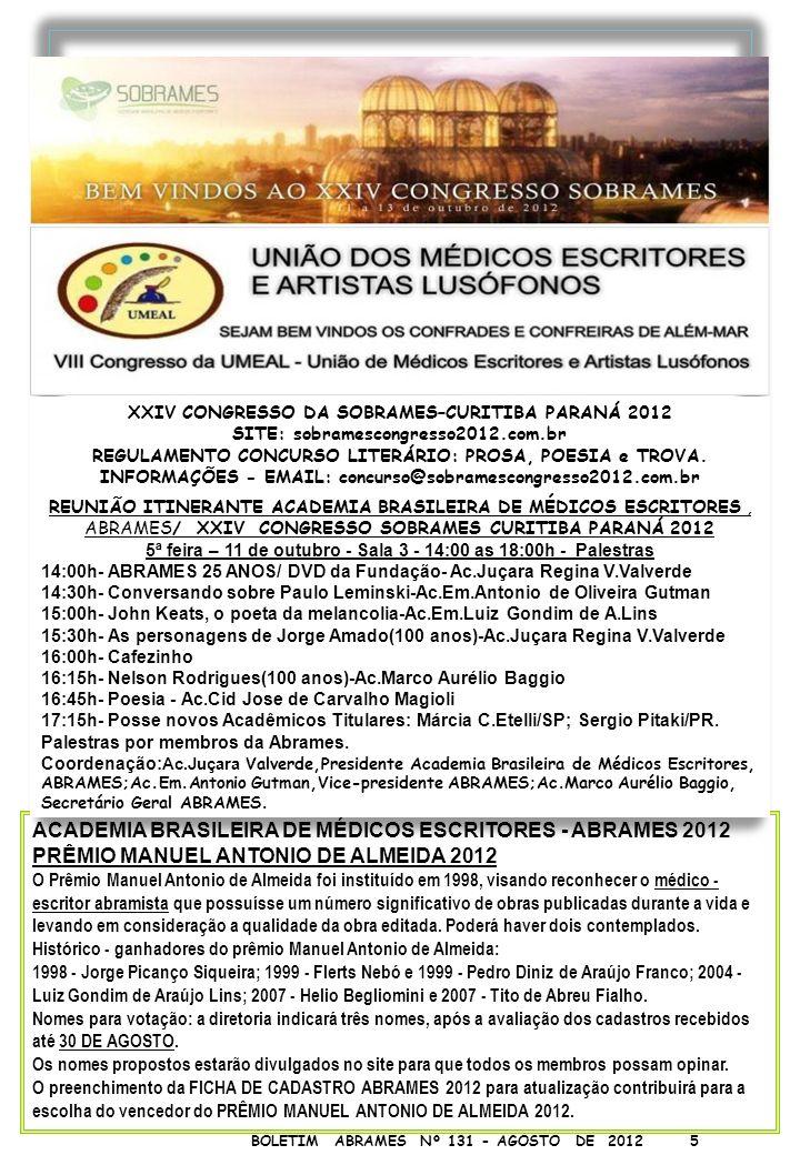 ACADEMIA BRASILEIRA DE MÉDICOS ESCRITORES - ABRAMES 2012