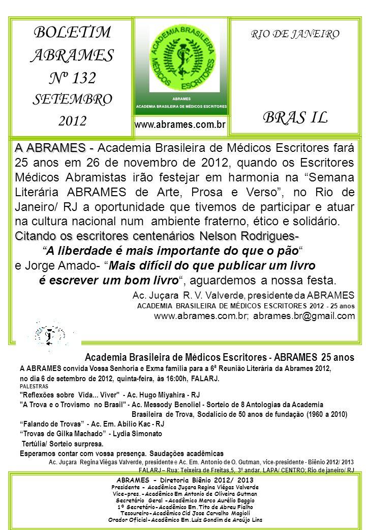 BOLETIM ABRAMES Nº 132 BRAS IL SETEMBRO 2012 RIO DE JANEIRO