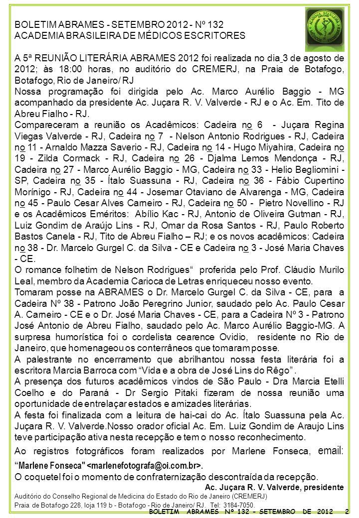 BOLETIM ABRAMES - SETEMBRO 2012 - Nº 132