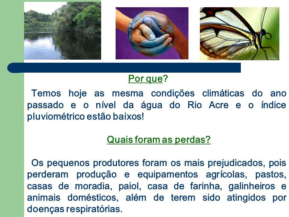 Temos hoje as mesma condições climáticas do ano passado e o nível da água do Rio Acre e o índice pluviométrico estão baixos!