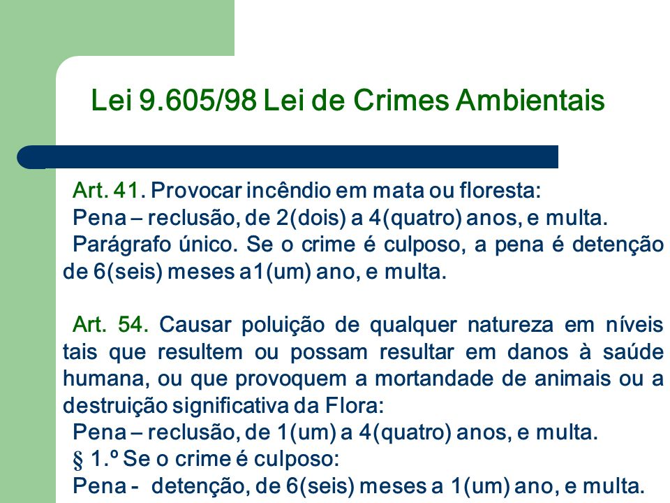 Lei 9.605/98 Lei de Crimes Ambientais