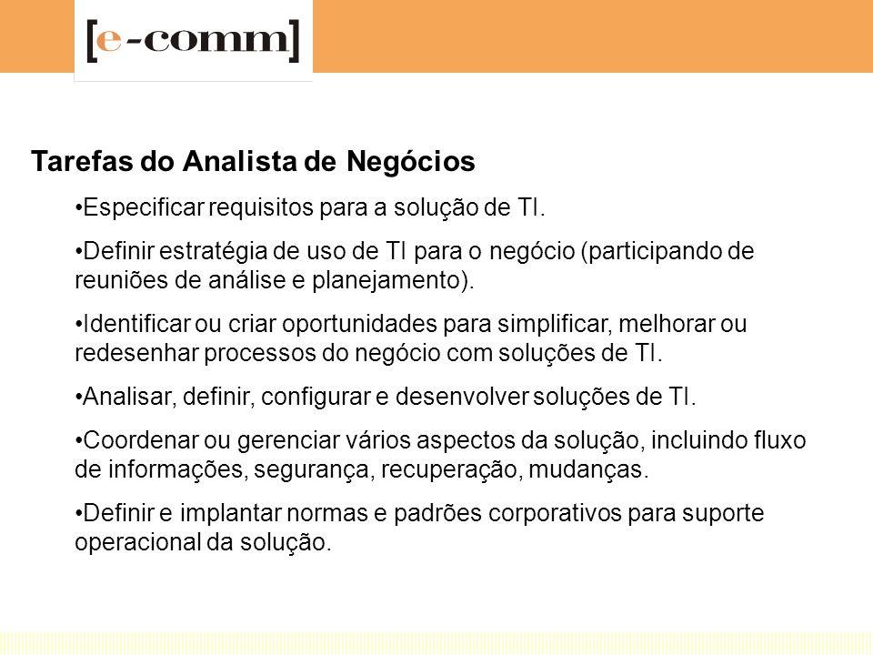 Tarefas do Analista de Negócios