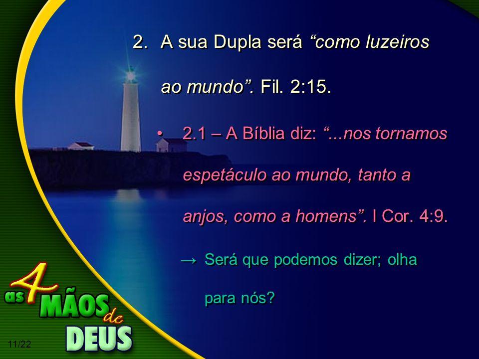 A sua Dupla será como luzeiros ao mundo . Fil. 2:15.