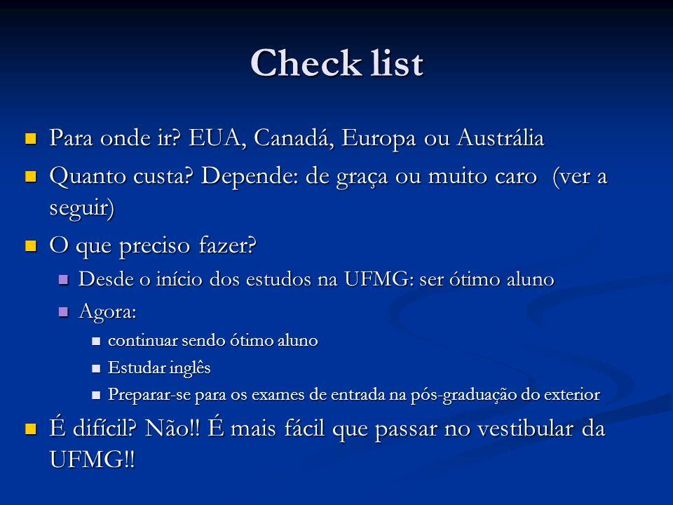 Check list Para onde ir EUA, Canadá, Europa ou Austrália