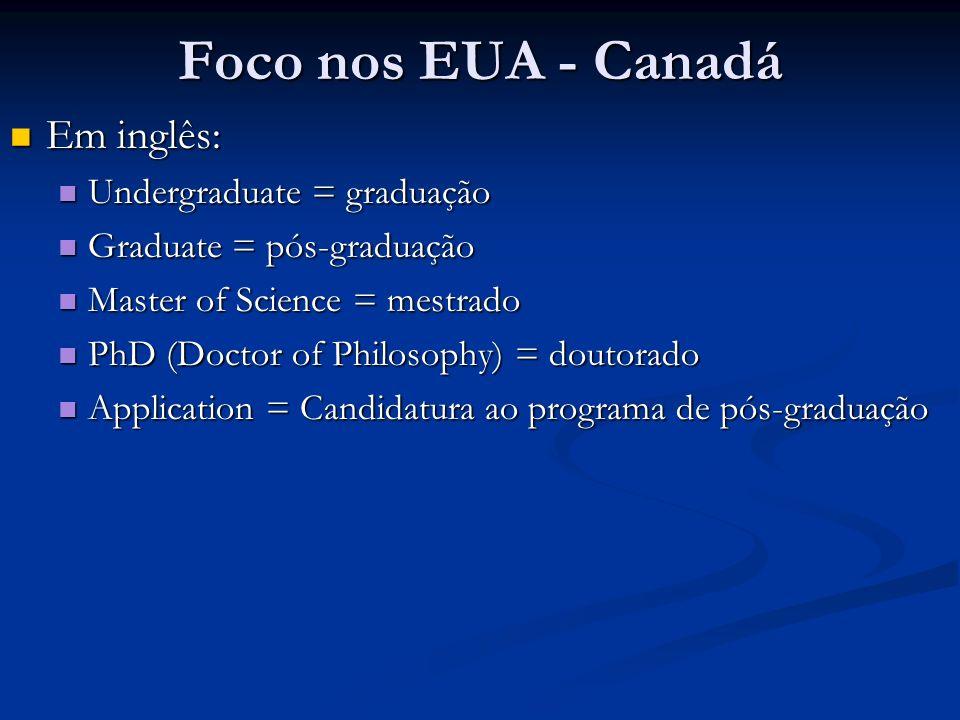 Foco nos EUA - Canadá Em inglês: Undergraduate = graduação