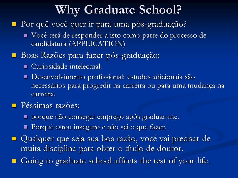 Why Graduate School Por quê você quer ir para uma pós-graduação