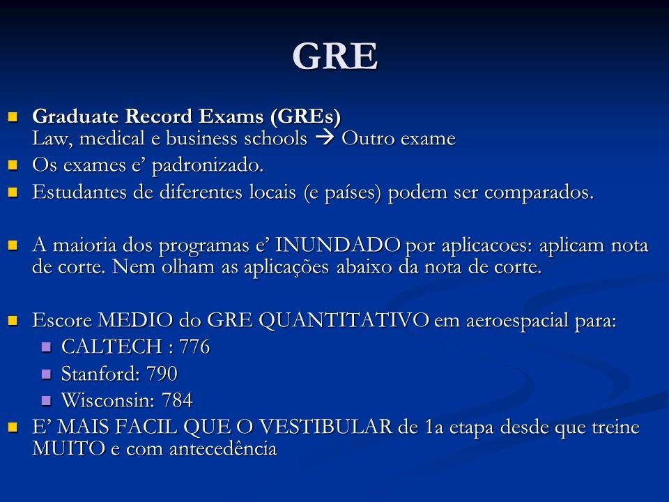 GREGraduate Record Exams (GREs) Law, medical e business schools  Outro exame. Os exames e' padronizado.