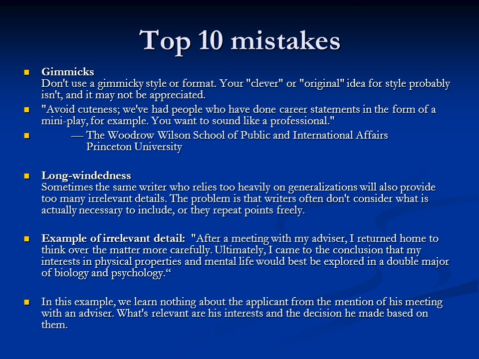 Top 10 mistakes