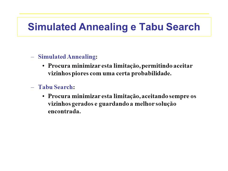 Simulated Annealing e Tabu Search