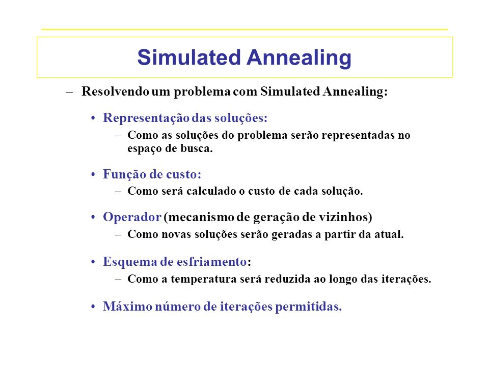 Simulated Annealing Resolvendo um problema com Simulated Annealing: