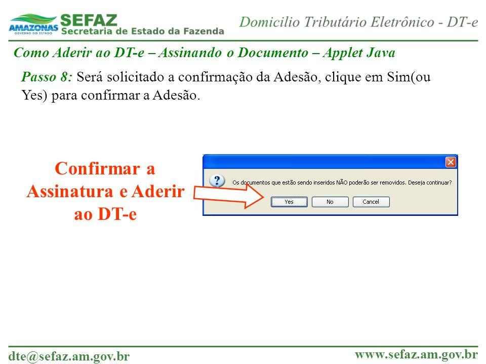 Confirmar a Assinatura e Aderir ao DT-e