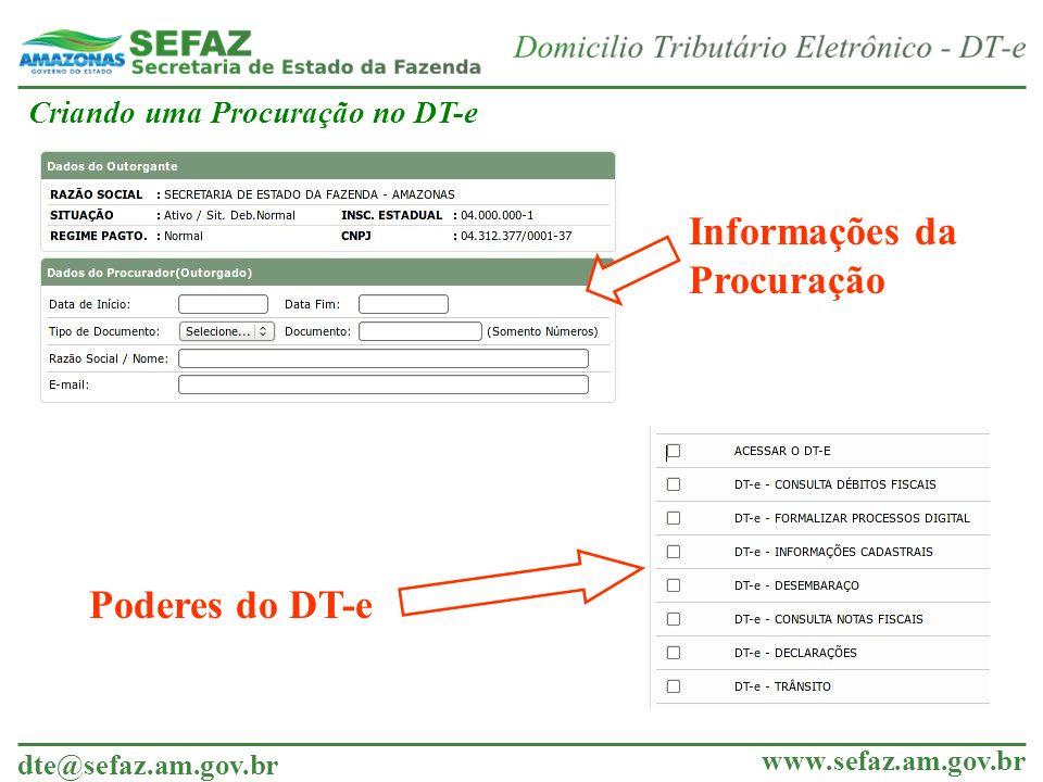 Informações da Procuração Poderes do DT-e