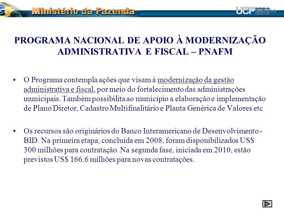 PROGRAMA NACIONAL DE APOIO À MODERNIZAÇÃO ADMINISTRATIVA E FISCAL – PNAFM