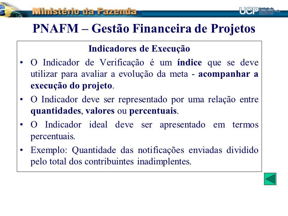 PNAFM – Gestão Financeira de Projetos Indicadores de Execução